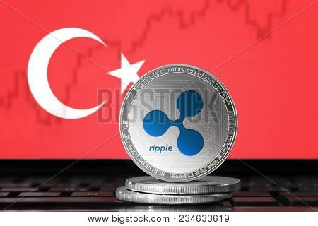 Ripple (xrp) Cryptocurrency; Physical Concept Ripple Coin On The Background Of The Flag Of Turkey