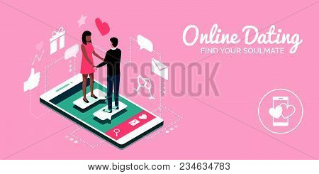 Couple Meeting Online On A Dating Website App, They Are A Perfect Match: Social Media And Relationsh