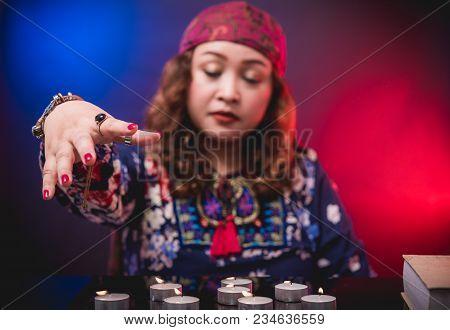Female Seer Teller Doing Psychic