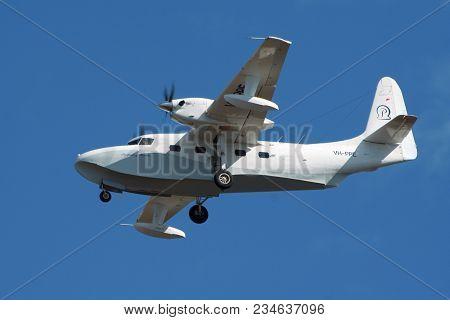 Darwin, Australia - Jul 7, 2006: Grumman G-73t Turbo Mallard Twin-engined Amphibious Plane From Pasp