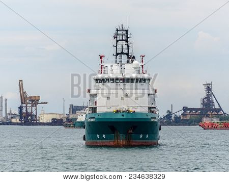 Labuan,malaysia-march 24,2018:platform Supply Vessel (psv) Offshore Oil And Gas Support Vessel,ready