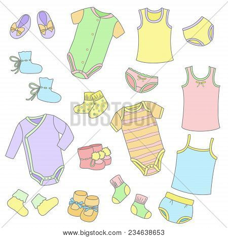 Set Of Cute Colorful Hand Drawn Clothes For Baby Including Bodysuit, Panties, Undershirts, Booties,