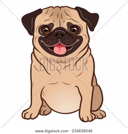 Pug Dog Cartoon Illustration. Cute Friendly Fat Chubby Fawn Sitting Pug Puppy, Smiling With Tongue O