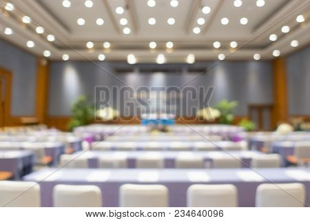 Blur Of Business Conference And Presentation In The Conference Hall, Meeting And Conference Room Tal
