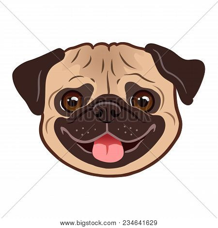 Pug Dog Cartoon Illustration. Cute Friendly Fat Chubby Fawn Pug Puppy Face, Smiling With Tongue Out.
