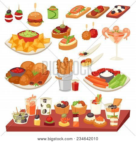 Appetizer Vector Appetizing Food And Snack Meal Or Starter And Canape Illustration Set Of Appetiser