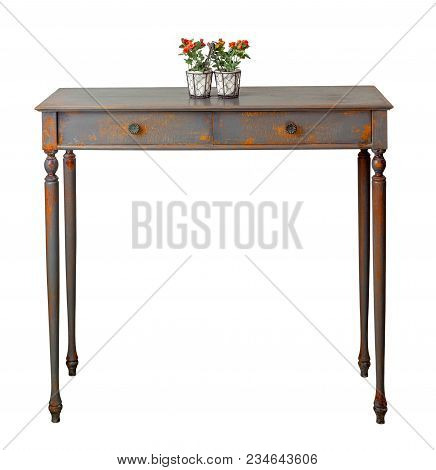Vintage Furniture - Front View Of Old Style Desktop Flower Planter With Red Flowers And Green Leaves