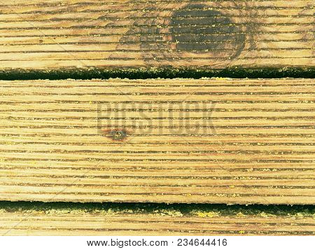 The Sill Wet Hard Wood Board With Weathering Resists Surface. Wooden Floor Of Beach Pier,  Floor Pla
