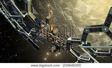 3d Illustration Of A Deep Space Honeycomb Geodesic Structure Surrounding A Spherical Web Of Triangul