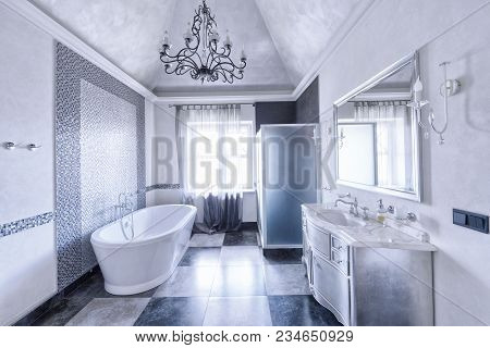 Russia, Moscow - Modern Designer Renovation In A Luxury House.stylish Bathroom Interior.