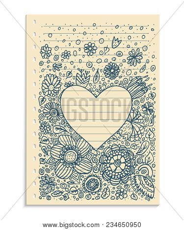 Hand-drawn Psychedelic Groovy Heart Notebook Doodles On Graph Sketchbook Paper Background- Vector Il