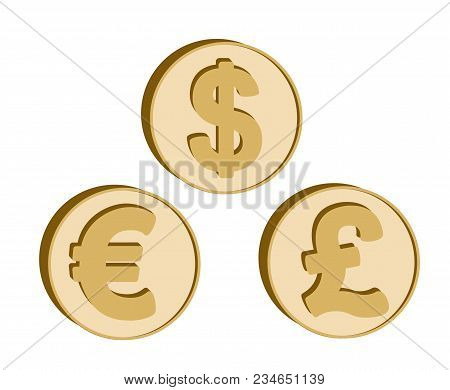 Set Of Currency Symbols In The Form Golden Coins With Sign: Dollar, Euro, British Pound.