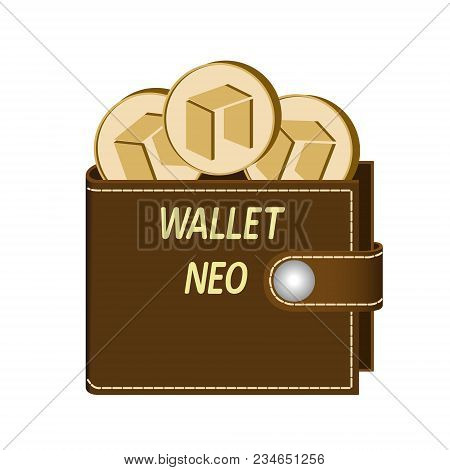 Neo Wallet With Coins On A White Background , Crypto Currency In The Wallet ,neo Coins In The Wallet