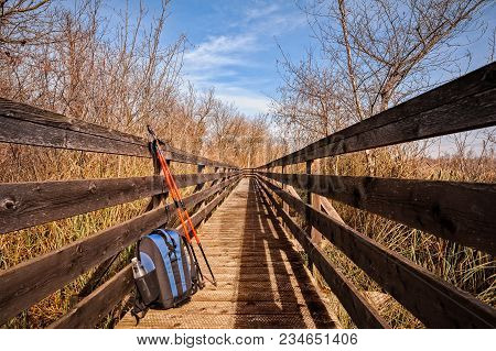 Wooden Footbridge For Hiking In Nature Park Peat Bog With Poles And Backpack.