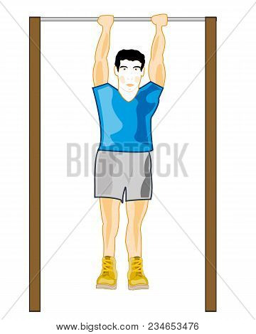 Man Athlete On Atheletic Projectile Horizontal Bar