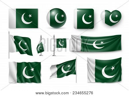 Set Pakistan Flags, Banners, Banners, Symbols, Flat Icon. Vector Illustration Of Collection Of Natio