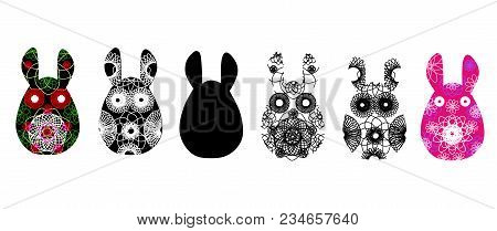 Set Of Rabbit Silhouettes With A Contrasty Abstract Pattern. Vector Illustration Isolated On White B