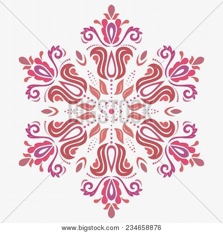 Oriental Vector Round Colorful Pattern With Arabesques And Floral Elements. Traditional Classic Orna