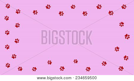 Frame Paw Prints Walking The Animal. Traces Isolated On Pink Background.