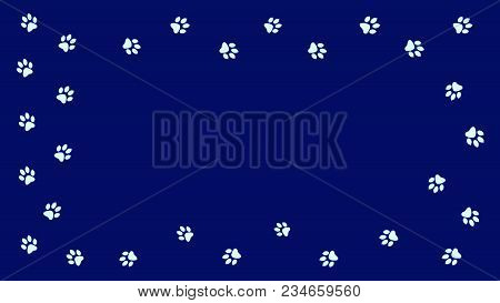 Frame Paw Prints Walking The Animal. Traces Isolated On A Blue Background.