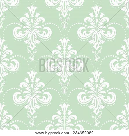 Floral Pattern. Wallpaper Baroque, Damask. Seamless Vector Background. White And Green Ornament