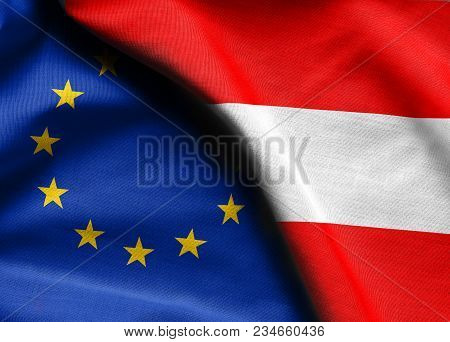 Fabric Flags Of The Austria And The European Union.