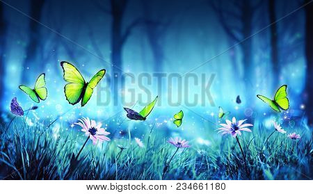 Fairy Yellow Butterflies On Daisies In Mystic Forest
