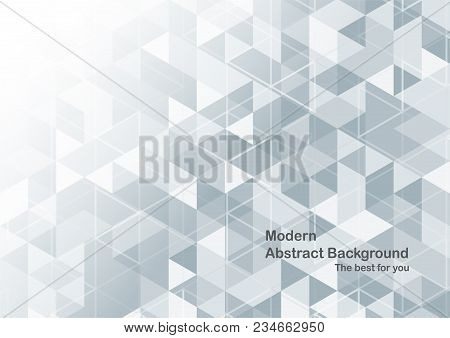 Modern Abstract Background In Polygon Shape. Template Design In Blue And White Tone For Business Pre