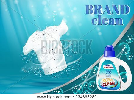 Means For Washing And Bleaching Of Linen, With A Bottle Template. On Blue Water Background With Bubb