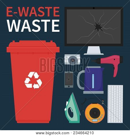 Bin For Recycling E-waste. Old And Broken Electronic And Electrical Household Equipment Vector Illus
