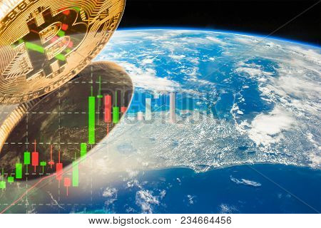 Golden Bitcoin New Virtual Money, World Financial Growth Concept Golden Bitcoin On Forex Graph Close
