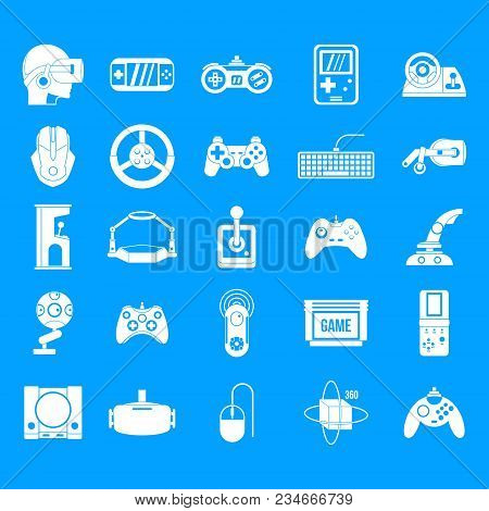 Game Console Icon Set. Simple Set Of Game Console Vector Icons For Web Design Isolated On Blue Backg