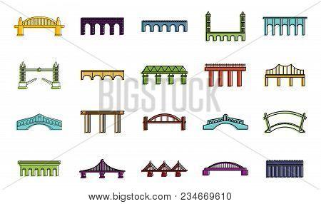 Bridge Icon Set. Color Outline Set Of Bridge Vector Icons For Web Design Isolated On White Backgroun