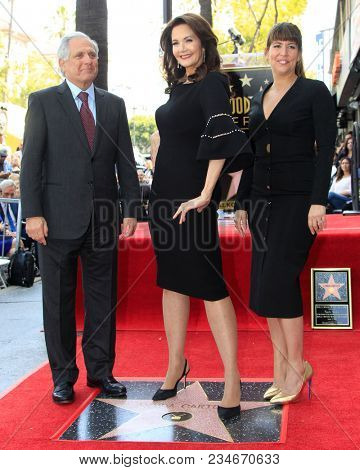 LOS ANGELES - APR 3:  Les Moonves, Lynda Carter, Patty Jenkins at the Lynda Carter Star Ceremony on the Hollywood Walk of Fame on April 3, 2018 in Los Angeles, CA