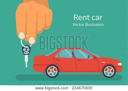 Car Key In Hand. Vector Illustration Flat Design. Vehicle Isolated On Background. Maybe As A Templat
