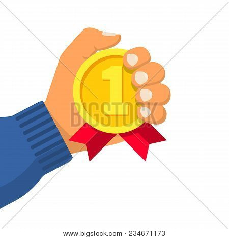 Gold Medal With Ribbon In Hand Athlete. Sportsman Winner Is Awarded Prize For The First Place. Vecto