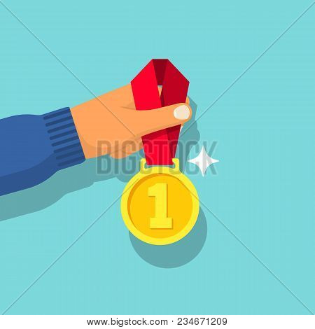 First Place Gold Medal With Ribbon In Hand Athlete. Sportsman Winner Is Awarded Prize. Vector Illust
