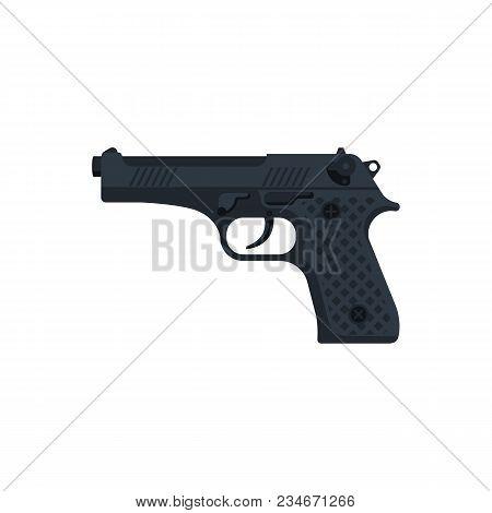 Pistol Isolated On White Background. Automatic Weapon. Handgun Police. Semi-automatic Pistol. Vector