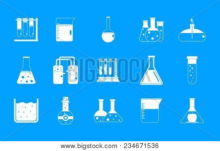 Chemical Pots Icon Set. Simple Set Of Chemical Pots Vector Icons For Web Design Isolated On Blue Bac