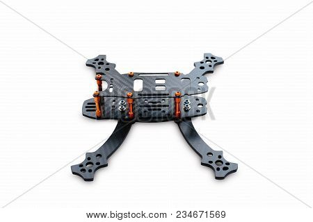 The Beginning Of The Racing Drone Assembly. A Robust Frame Of An Unmanned Aerial Vehicle Made Of Car