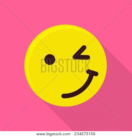 Winking Emoticon Icon. Flat Illustration Of Winking Emoticon Vector Icon For Web