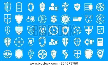 Shield Icon Set. Simple Set Of Shield Vector Icons For Web Design Isolated On Blue Background
