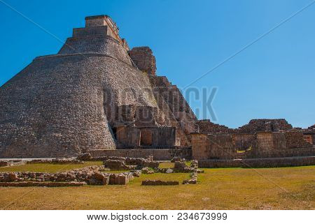 Archaeological Site Of Uxmal, Mexico. Unesco World Heritage Site. Ruins Of Uxmal.