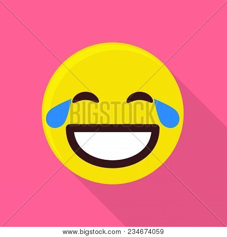 Laughing Emoticon Icon. Flat Illustration Of Laughing Emoticon Vector Icon For Web