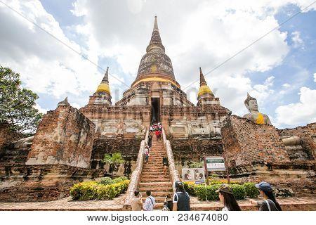 Ayutthaya / Thailand - September 3, 2017 : Great Tall Pagoda At Wat Yai Chaimongkol, The Famous Hist