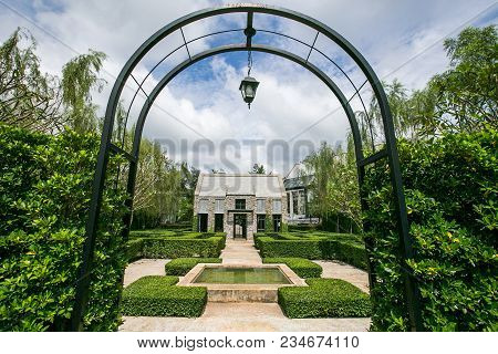 Nakornrachasima / Thailand - October 19, 2014 : Beautiful View With English Garden In The Valley At