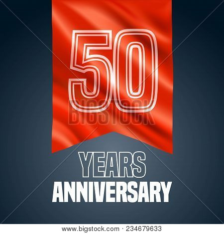 50 Years Anniversary Vector Icon, Logo. Design Element With Red Flag For Decoration For 50th Anniver