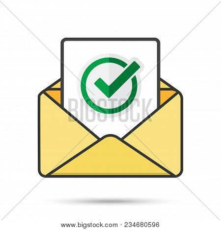 Email with document and round green check mark icon. successful verification concepts. Vector email icon poster