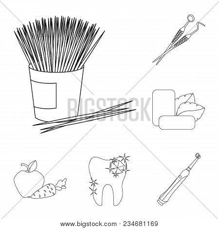 Dental Care Outline Icons In Set Collection For Design. Care Of Teeth Vector Symbol Stock  Illustrat