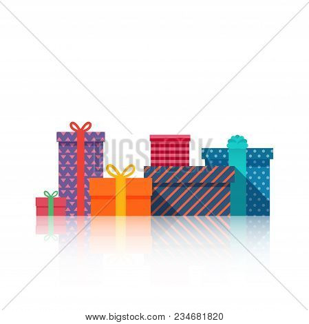 Gifts Boxes Beautiful Present Box With Bow. Gift Box Icon. Gift Symbol. Christmas And Happy New Year